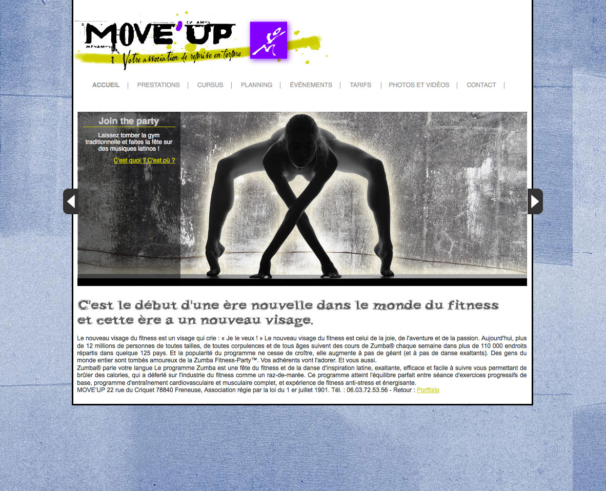 Page d'accueil du site Move'Up
